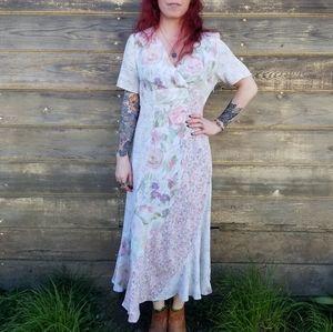 Vintage Carole Little | pastel floral maxi dress